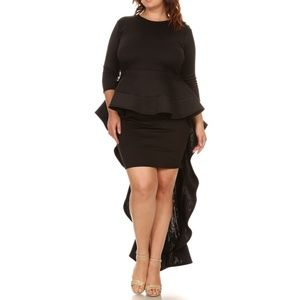 Black Cascade Hi Lo Ruffle Peplum Bodycon Dress